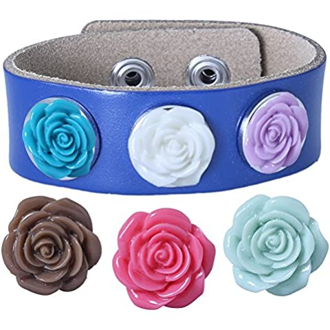Soleebee PU pulseras de cuero azul marino de experiencia 6 Rose aleatoria diamantes de imitación Snap mezclaron los botones Azul