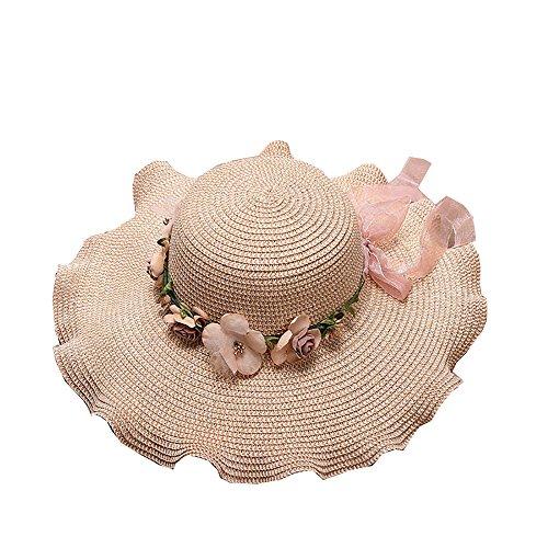 t Stroh Sonnenhut für Frauen Damen Sonnenhut Strohhut Elegant Sonnenschutz Hut UV 50 Schutz mit Sonnenschutz Breite Krempe ()