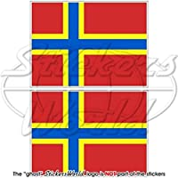 "ORKNEY Islands Flag SCOTLAND UK Scottish 3"" (75mm) Vinyl Bumper Stickers, Decals x2"