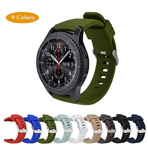 Armband für Gear S3 Frontier / Classic, MroTech 22mm Soft Silikon Sport Armband Ersatz Uhrenarmbänder mit Schnellspanner für Samsung Gear S3 Frontier/ S3 Classic/ Moto 360 2nd Gen 46mm and Pebble Time Steel Smartwatch (Grün)