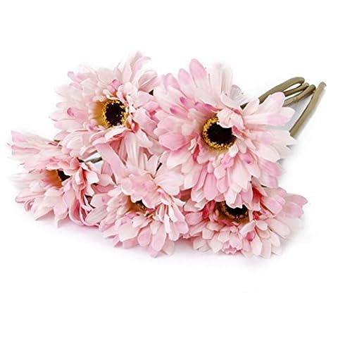 Pixnor Gerbera Artificielle Fleur de Marguerite Pour Décoration - 5pcs (Rose)