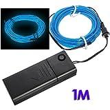 SODIAL(R) Azul - Cable EL Flexible Luz Neon 1M Decoracion de Baile Fiesta + Controlador