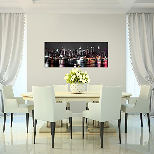 Bilder 100 x 40 cm - New York Bild - Vlies Leinwand - Kunstdrucke -Wandbild - XXL Format - mehrere Farben und Größen im Shop - Fertig zum Aufhängen - 601912a - 4