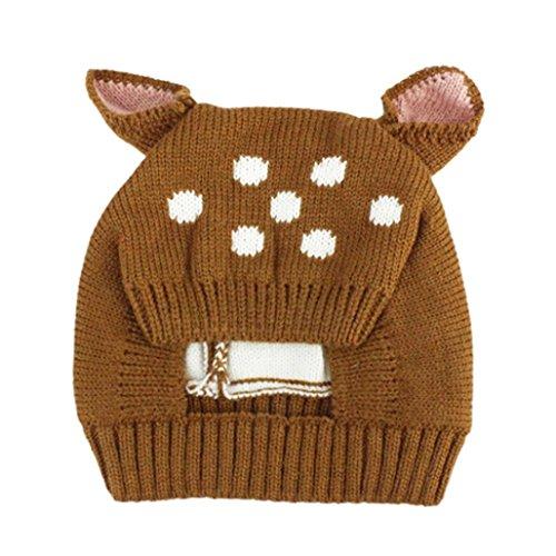 Baby Mütze Clode® Herbst und Winter Baby Hut Mädchen Jungen Kappen Kind Hut Kleinkind Kinderhut (Kaffee) (Fäustlinge Mütze)