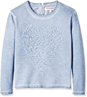 RED WAGON Girl's Heart Embellished Sweat, Blue, 10 Years