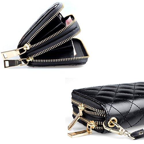 Portafoglio in pelle da donna con due cerniere, Borsa Organizer per ragazze, Pochette o Clutch + clip con cinturino da polso Nero