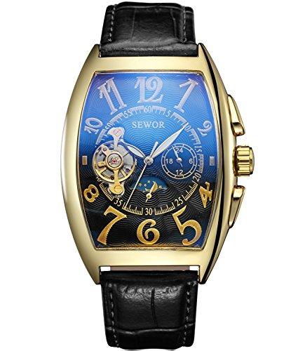 Sewor Luxury Tourbillon Mens Moon Phase Automatic Mechanical Wrist Watch Leather Band Glass Coating Blue (Black)