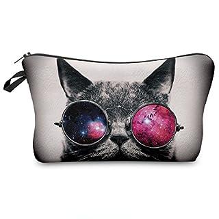 Trousse Scolaire Sac a Crayon Trousse de Toilette Trousse en Cuir Plumier Organisateur Trousse a Maquillage Chat Galaxy Sunglasses Cat [009]