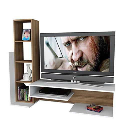 Wohnwand Anbauwand TV Medienwand Lowboard BEND in verschiedenen farben (Weiss-Walnussbraun) 2015