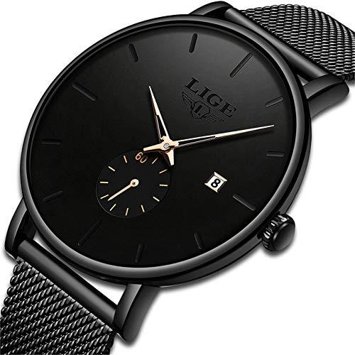 Relojes para Hombre Moda Minimalista Simple Impermeable Analógico Quarzo Reloj Marca LIGE Negocio Vestido Clásico Reloj de Pulsera