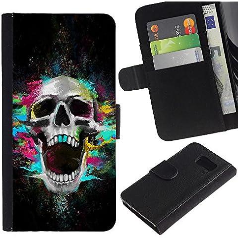 Leather Etui en cuir || Samsung Galaxy S6 || Los dientes del cráneo de neón Scream Esqueleto colorido