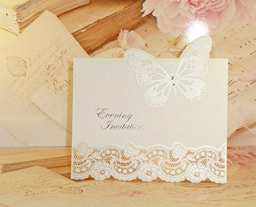 Wedding Wonders - Invitaciones de boda con sobre (10 unidades), diseño con mariposa 3D cortada a láser