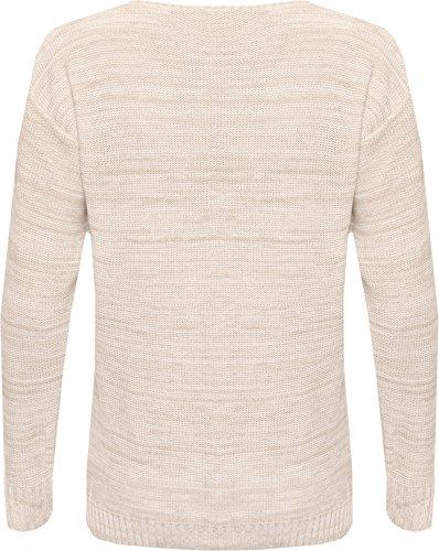 WearAll - Pull tricoté à manches longues avec l'image du lapin qui porte les lunettes - Pulls - Femmes - Tailles 36 à 42 Crème