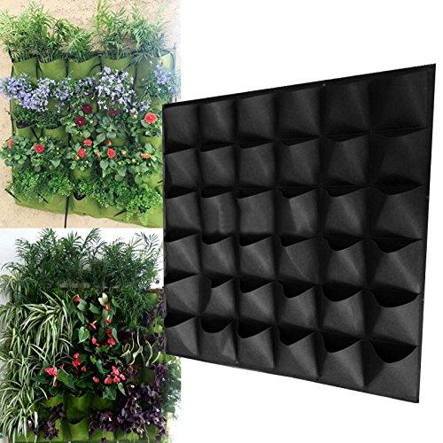 LVEDU Pflanzen Grow Staubbeutel 36Taschen Wandbehang Übertopf Outdoor für den Gartenbau Vertikal ökologisierung Blume Behälter schwarz Pflanze Tasche