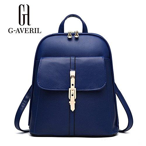 (G-AVERIL) Nuovo zaino da viaggio borsa zaino scuola femminile zaini scuola zaino da viaggio zainetto in PU pelle zaino Blu scuro