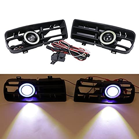 sengear Angel Eyes LED Blanc Feux de circulation diurnes Feux anti-brouillard clair Grill Grille pare-chocs avant pour VW Golf MK41998–2004