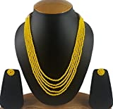 #4: Aradhya Five Layer Yellow Color Crystal Beads Necklace with Earrings
