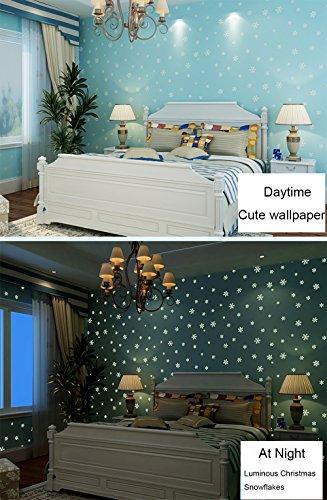 Glow in the Dark enfants Motif Contact papier autocollant de papier peint intissé pour chambre de garçon de Noël Home Décor mural autocollant (Bleu, 52,9 x 300 cm )