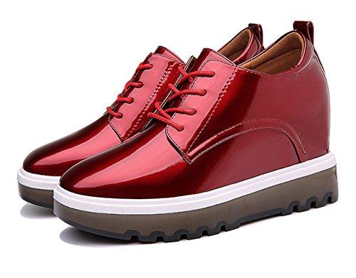 Damen Dicke Sohle Plattform Schnürsenkel Lackleder Modische Stil Schöne Schuhe Rot