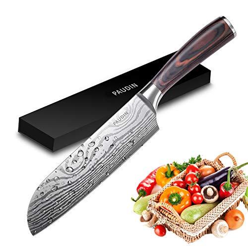 PAUDIN 17cm Santokumesser Kochmesser aus deutschem Messerstahl, Sushi Messer Küchenmesser mit...