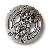 Knopfparadies - 6er Set altsilberfarbene Ösen Metallknöpfe mit floralen Elementen