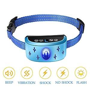 Collier anti-aboiement automatique rechargeable, sangle en nylon réfléchissante et veilleuse à LED, sensibilité / vibration / choc à 7 niveaux de réglage, adapté aux petits et grands chiens de 7 à 54 kg