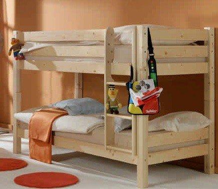 Avanti trendstore - knuth - letto a castello in legno massiccio di pino con scaletta a pioli. la struttura in legno è scomponibile anche in 2 letti singoli. dimensioni: lap 101x144x210 cm