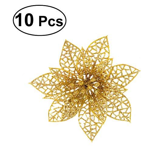 Winomo 10pcs ha simulato i fiori artificiali di plastica decorativi di natale per l'albero di natale (oro)