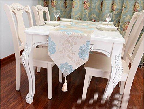 Miaoge Amerikaner Land Continental Satin Stickerei Traube Quaste Tischläufer Couchtisch Tischfahne 120*33cm Royal Polyester Satin
