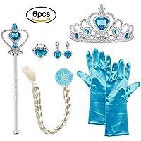 Vicloon -  Conjunto con Accesorios de Princesa del Hielo para Niña de 2-9 Años, Color Azul, 5 Piezas