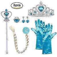 Descrizione Il set perfetto per completare i costumi bambine da principesse, sia Elsa, Cenerentola o altre. I guanti misurano 24 cm di lunghezza e sono adatti per bambine tra 2-9 anni. Lunghezza della treccia : 53cm. La treccia è attaccata c...