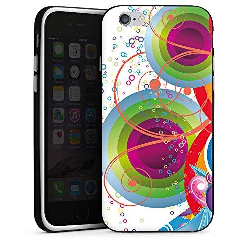 Apple iPhone 4 Housse Étui Protection Coque Bulles couleurs Vrilles Housse en silicone noir / blanc