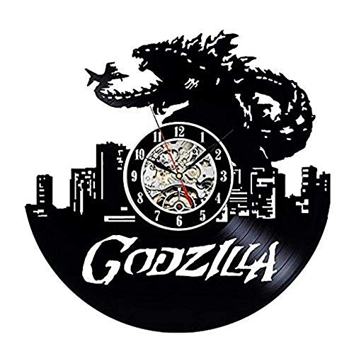 GuoEY Godzilla Muster Vinyl Material Modernen Retro-Stil Nach Hause Dekorativen Vinyl Record Wanduhr