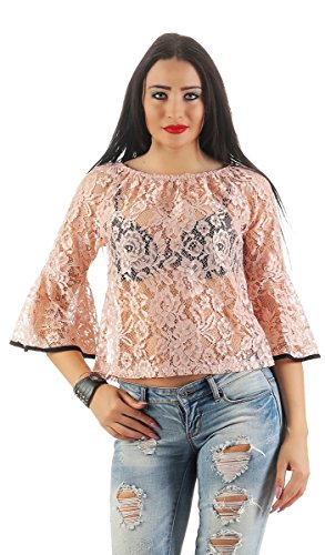 11148 Fashion4Young Damen Langarm Bluse mit Spitze Shirt Tunika Top Apricot