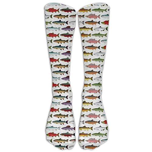 Ljkhas232 Rainbow Colored Trout and Salmon Athletic Tube Stockings Women's Men's Classics Crew Stockings Socks Sport Long Sock One Size -