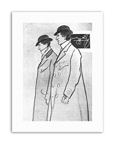 Wee Blue Coo LTD BEGGARSTAFFS Phil May Black White Trench Coat Poster Drawing Canvas Art Prints Canvas Trench Coat