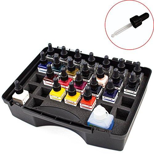 Airbrush Farben Set Schmincke Aero Color Professional Koffer Basis 16 x 28 ml + 7 Leere Pipetten Falschen + 125 ml Reinigungsmittel Cleaner