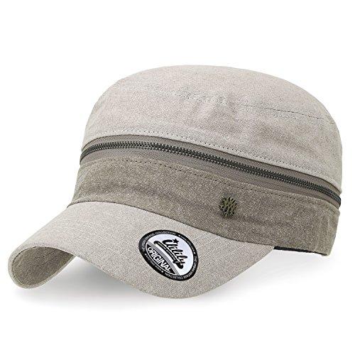 207693b62c3 ililily Color Block Cotton Military Army Hat Zip Detail Adjustable Cadet Cap