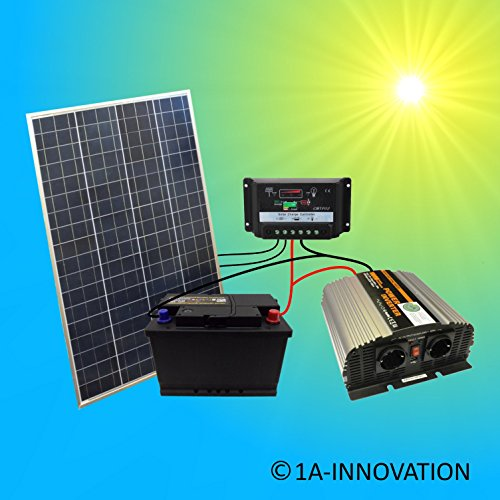 Komplette 220V Solaranlage Poly TÜV Akku 100W Solarmodul 1000W Spannungswandler Gartenhaus NEU...
