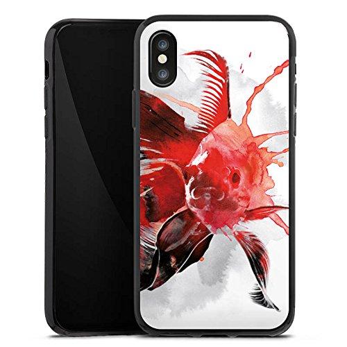 Apple iPhone X Silikon Hülle Case Schutzhülle Fisch Kunst Goldfisch Silikon Case schwarz