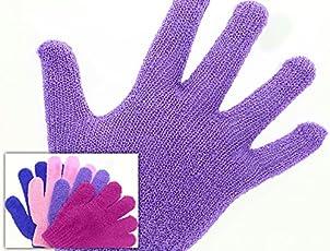 Peelinghandschuh (1 Paar) für intensives Peeling und Massage, trocken oder nass anwendbar, Lila