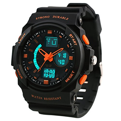 Dictac Waterproof Sports Watch for Swimming, 50M Water-Resistant and Shock-Resistant Wristwatch with Large Face for Men, Women and Children( Model:123188) (Large, Orange)