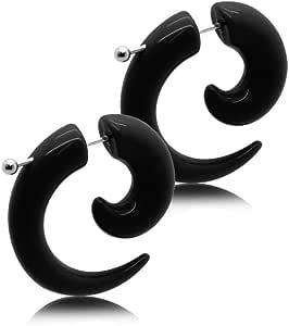 2 spirale finto plug fake taper orecchini da avvitare piercing nero 4 mm
