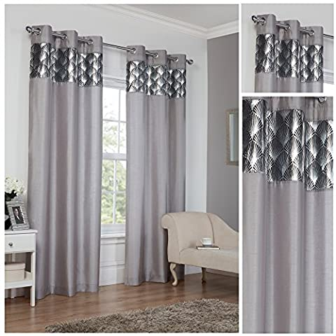 Astoria Silver Ring Top / Eyelet Fully Lined Readymade Curtain Pair 66x90in(167x228cm) Approximately By Hamilton McBride®