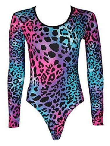 janisramone Damen Bardot Wet Look Lange Ärmel Stretch Bodysuit Top Lace NEON LEOPARD PRINT