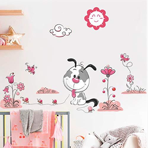 Lvabc 3D Cartoon Tiere Wandaufkleber Sweet Dogs Pet Puppy Flower Wandtattoo WandbildKinder Kindergarten Kinder Schlafzimmer Dekor (Puppy Halloween Wallpaper)
