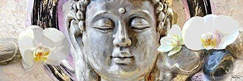 Keilrahmen-Bild - Michael Tarin: Buddha Zen Leinwandbild Feng-Shui Kult aktuell Pop (20x60)