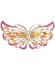 Women es Exquisite Schmetterling Geformt Strass Haarspange Clip Accessing Pink,7.3 x 4 cm
