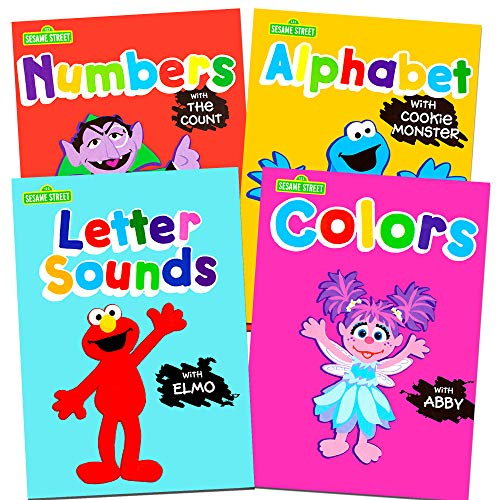 oks Preschool (Set of 4 Workbooks -- Alphabet with Elmo, Letter Sounds, Numbers and Colors) by Sesame Street ()