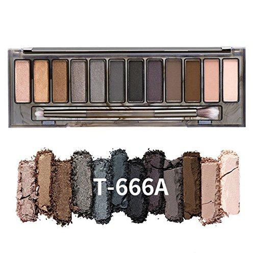 MYG Lidschatten Palette 12 Farben Lange andauernd Make Up Palette Powder Cosmetic Smokey Eyes Smooth (Smokey Palette Eye)
